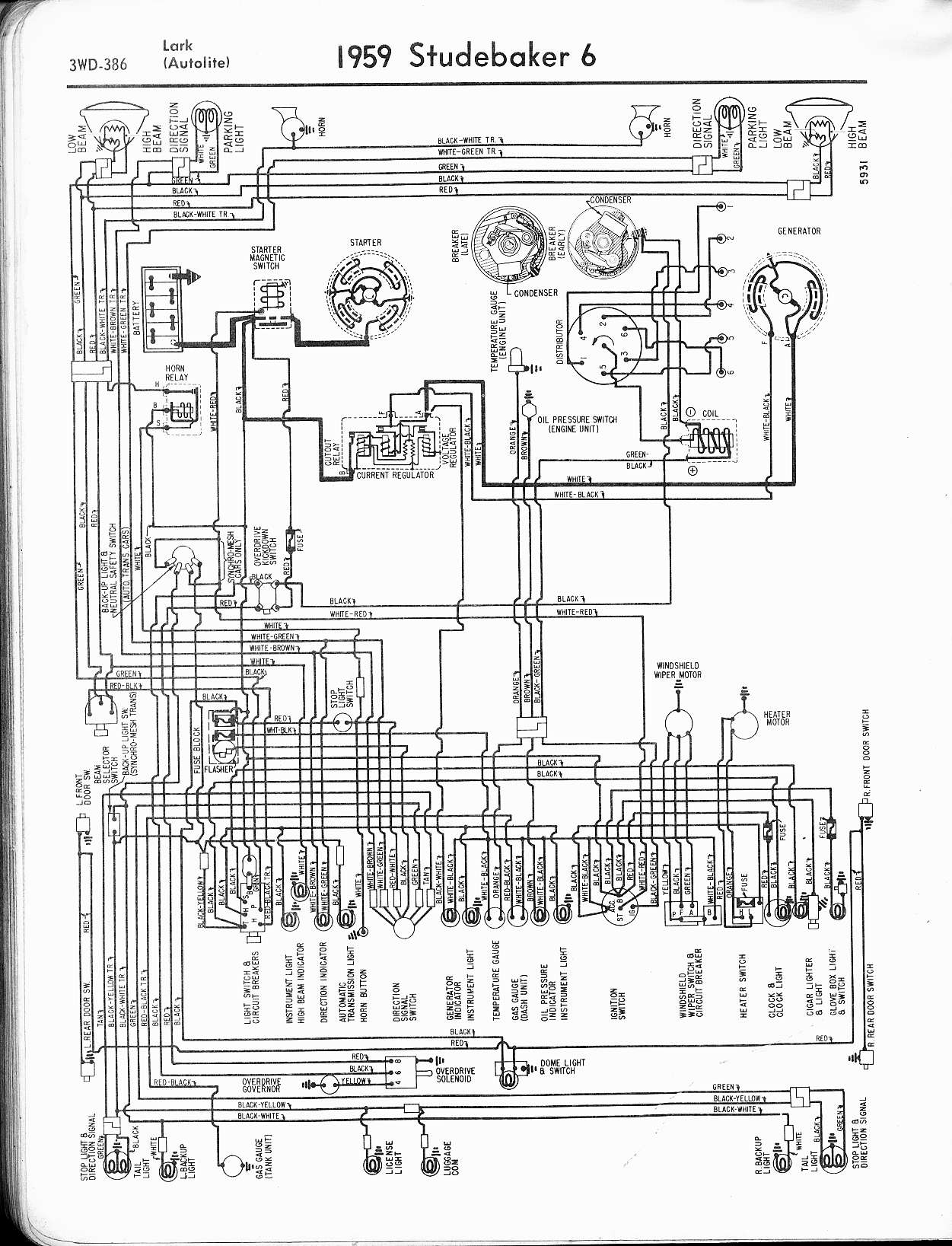 studebaker wiring diagrams the old car manual project 1959 6 cyl lark (autolite)