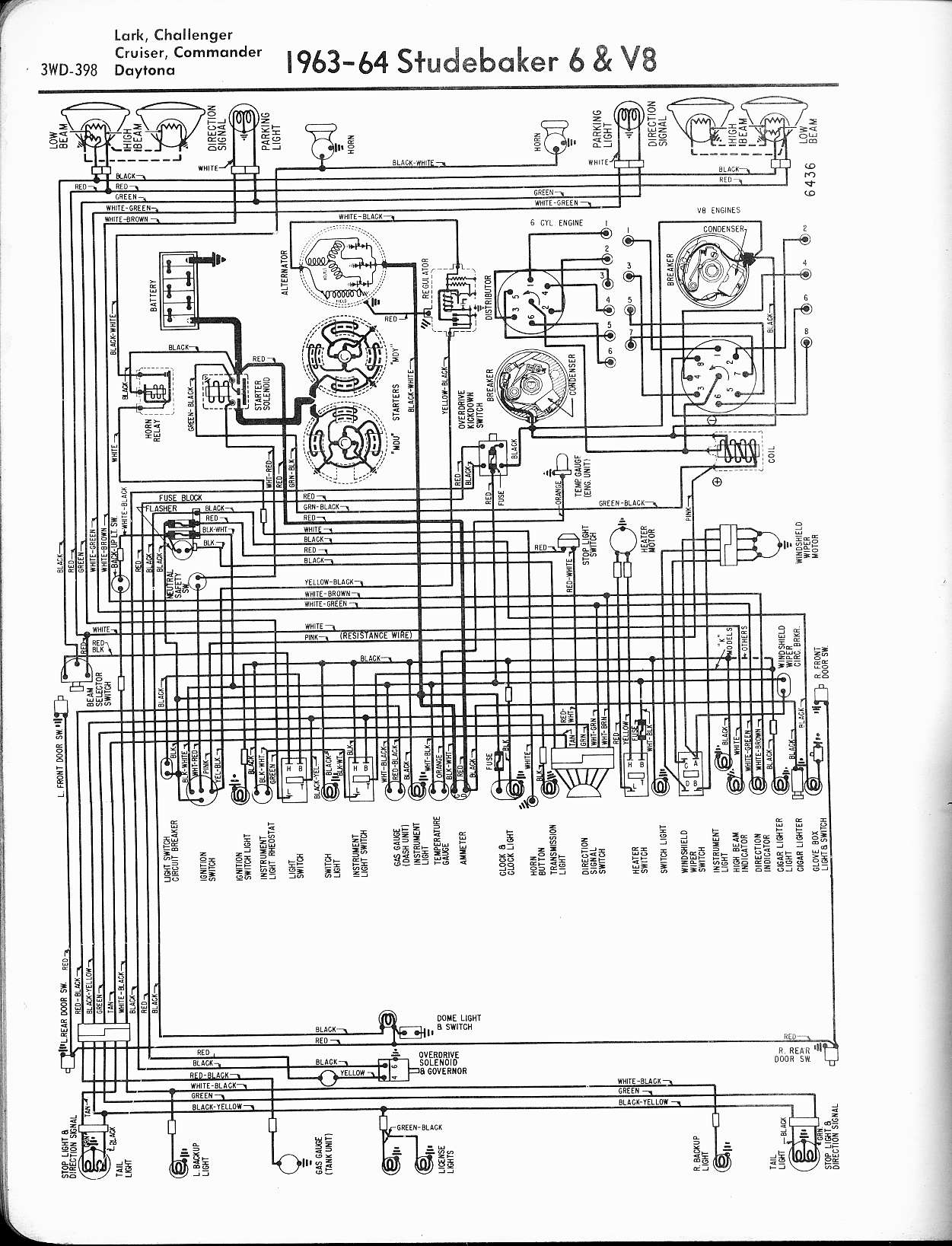 Wiring Diagram For 196364 Studebaker 6 And V8 Lark Challenger ... on