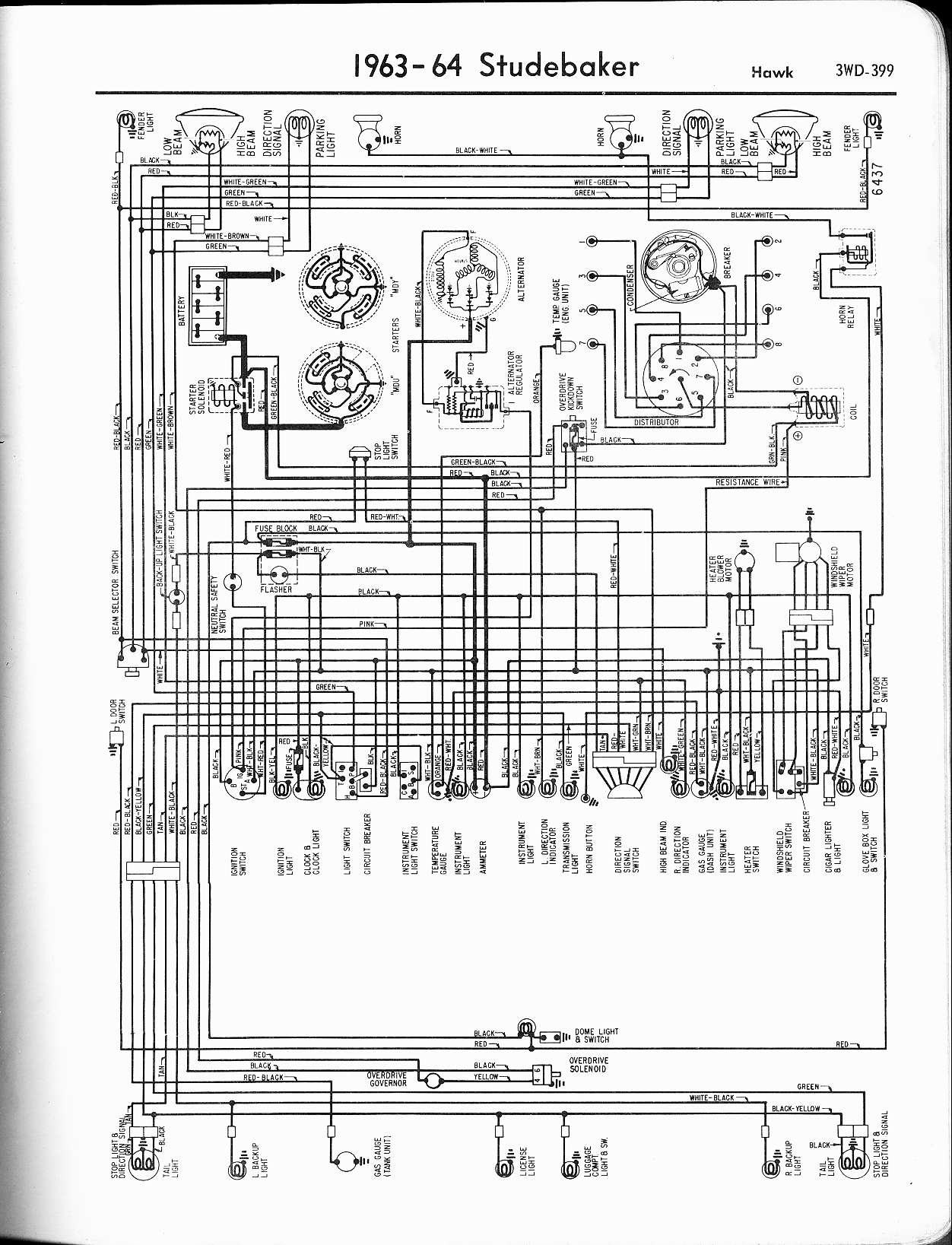 studebaker wiring diagrams the old car manual project 1963 64 hawk